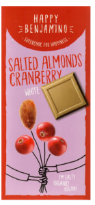 Czekolada Happy Benjamino Salted Almonds Cranberry White 70g